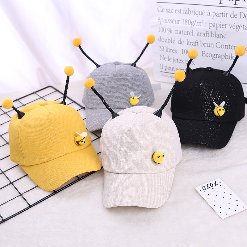 Childrens shoes and socks hat cap cap cute cartoon bee spring and summer boys and girls baseball cap sunscreen