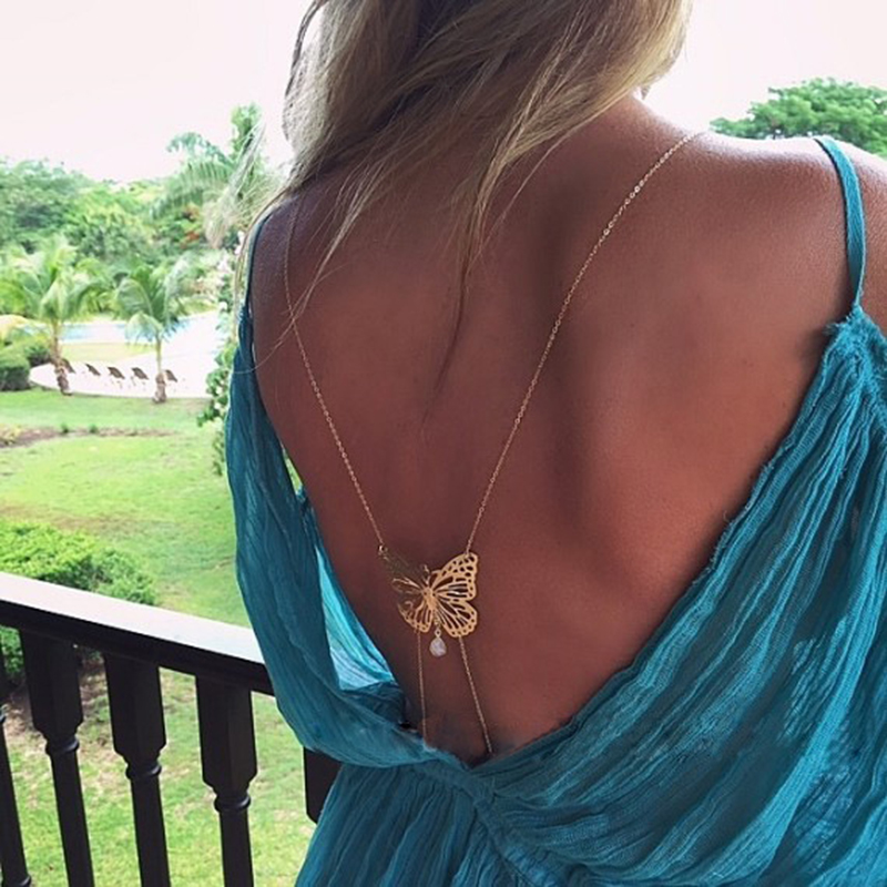 European and American personality chest chain new style fragrant shoulder back dish Butterfly Pearl tassel water drop gem sexy body chain accessories