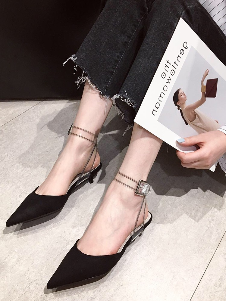 South Korea 2019 summer new suede wrap ankle strap sandals all in one medium heel solid pointed back empty womens shoes