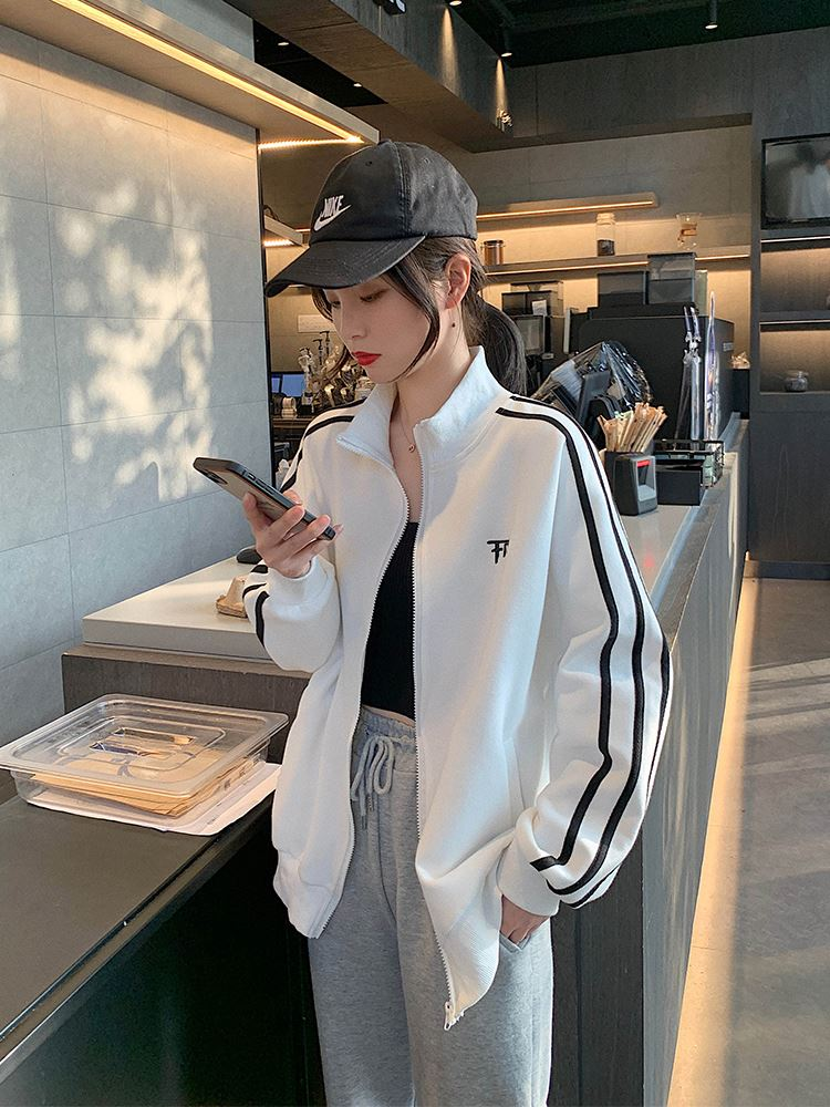 Spring coat womens short thin 2021 spring and Autumn New Womens White Baseball Jacket sports casual jacket spring