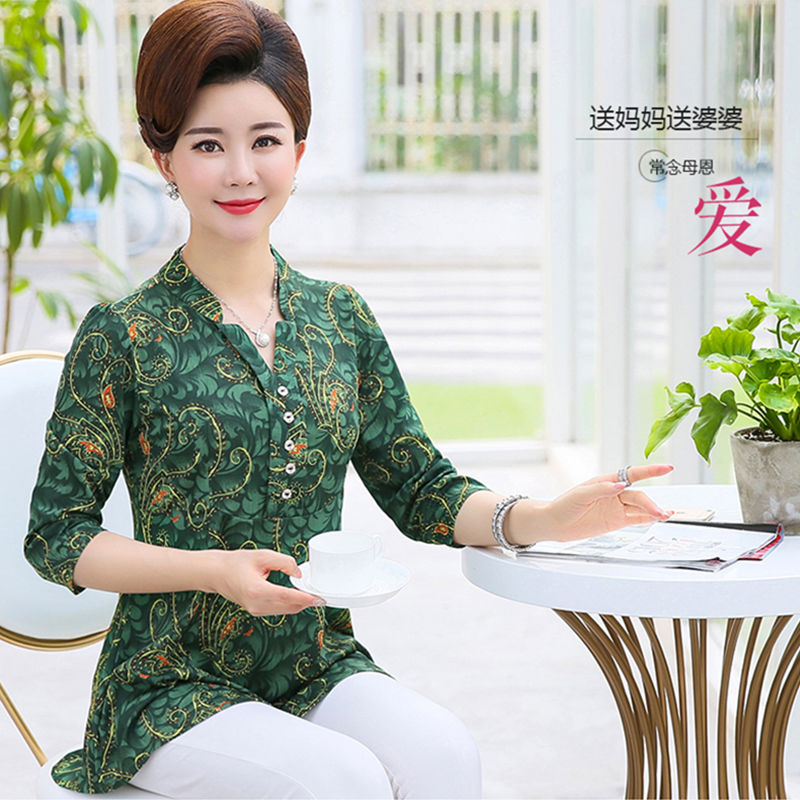 Middle aged and elderly womens spring and autumn shirt long sleeve T-shirt bottom top top 40-50 years old loose large size mom summer dress