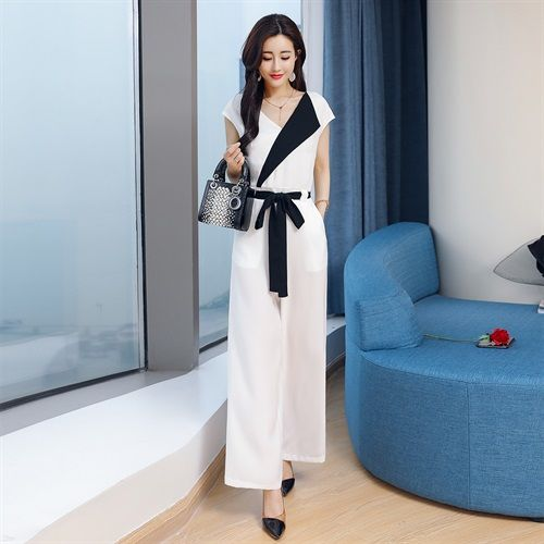 Casual one-piece pants wide leg pants suit womens summer womens 2019 new fashionable black and white womens Chiffon one-piece pants