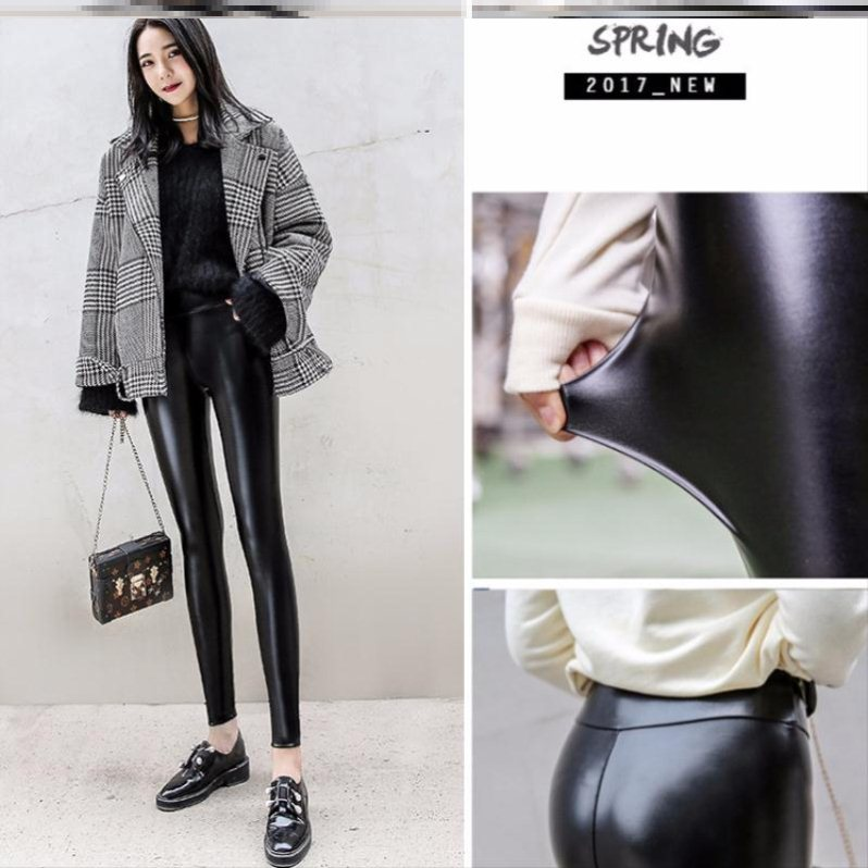 Plush leather pants for women wear high waisted and thickened matte Leggings