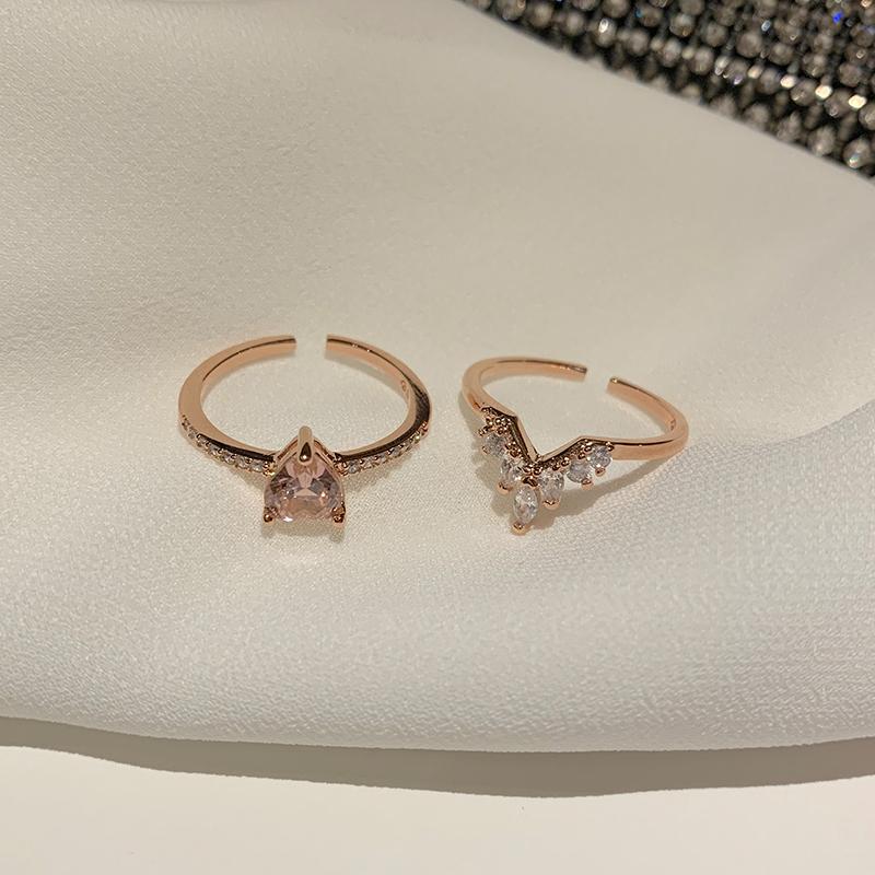 日韩潮人开口可调节戒指女时尚个性少女心双层爱心指环两件套饰品