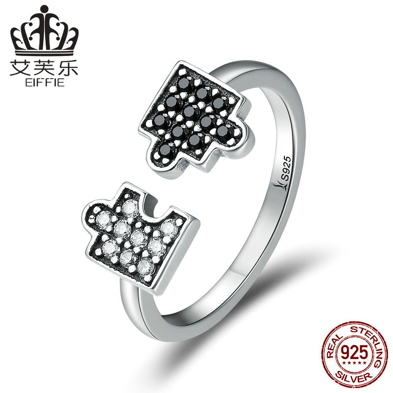 European and American hot mosaic diamond S925 Silver Ring simple open ring stock y scr180