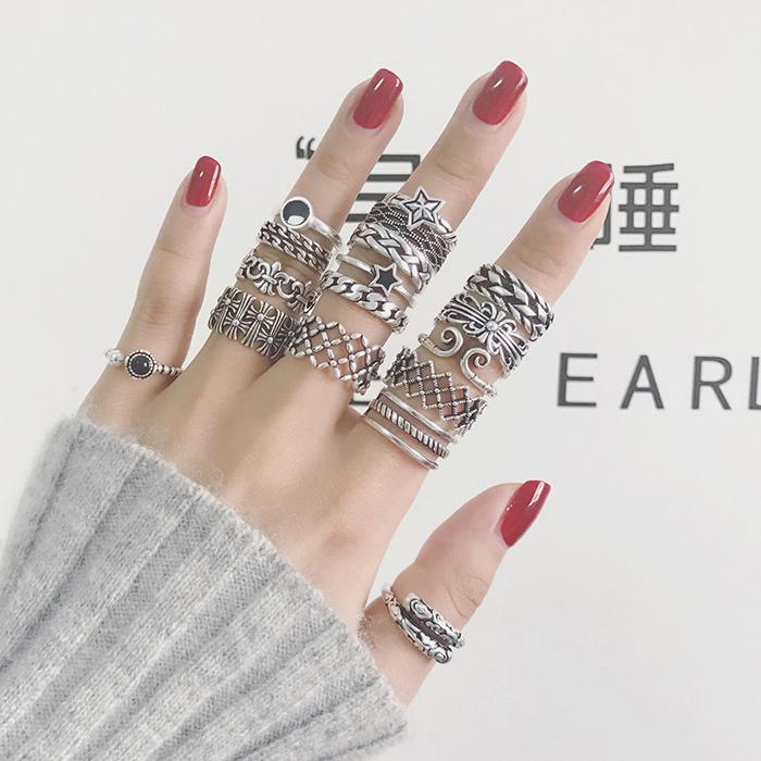 简约复古指环饰品日韩潮人尾戒小指学生食指男女情侣戒指纯银对戒