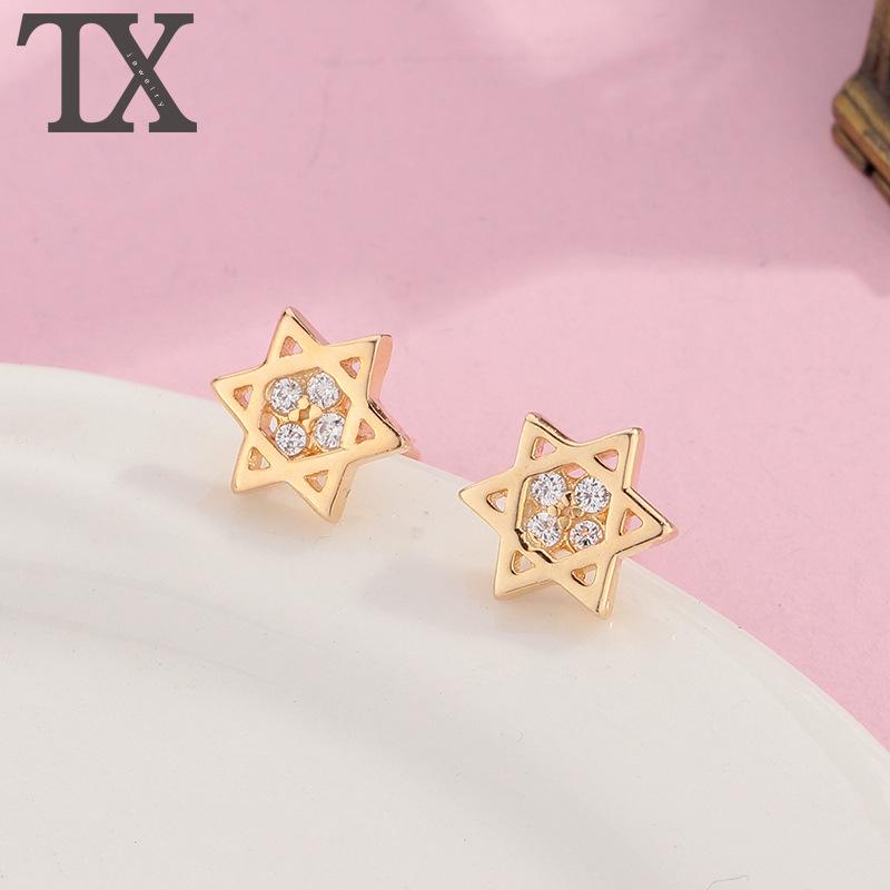 European and American Rhinestone Earrings six pointed star Earrings Gold Plated hexagonal Star Earrings Japanese and Korean diamond ornaments