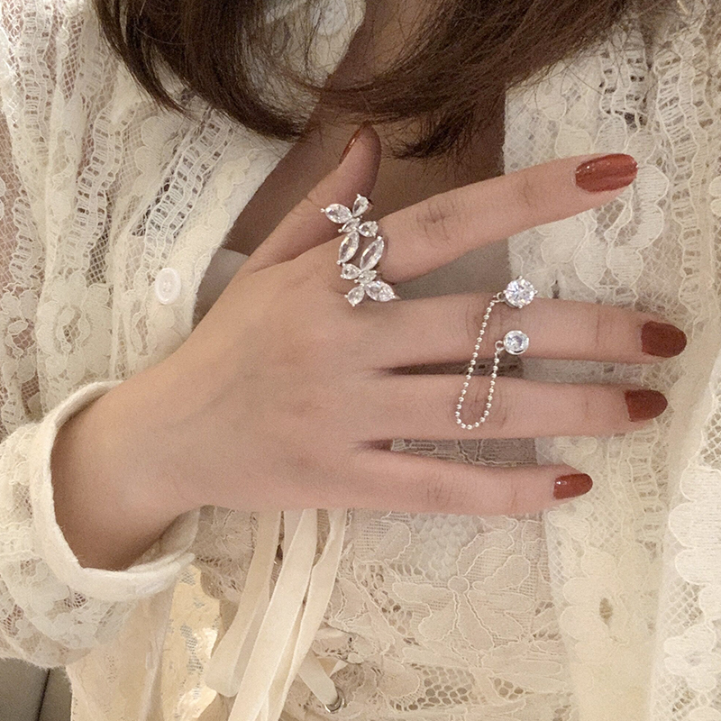 Butterfly double Sheng ring three dimensional super immortal zircon open joint chain ring