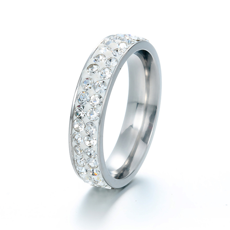 206 new double row full diamond Yiwu small commodity stainless steel water diamond ring / tail ring for lovers