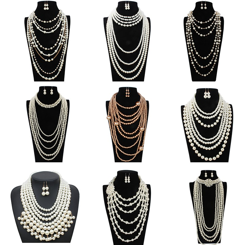 European and American exaggerated Pearl Necklace Earrings two piece set womens fashion multi-layer neck chain pendant sweater chain accessories