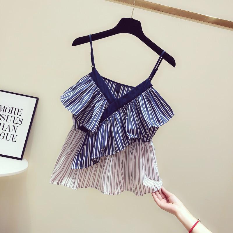 2019 summer new Korean color matching stripe irregular Ruffle V-neck suspender vest womens casual top fashion
