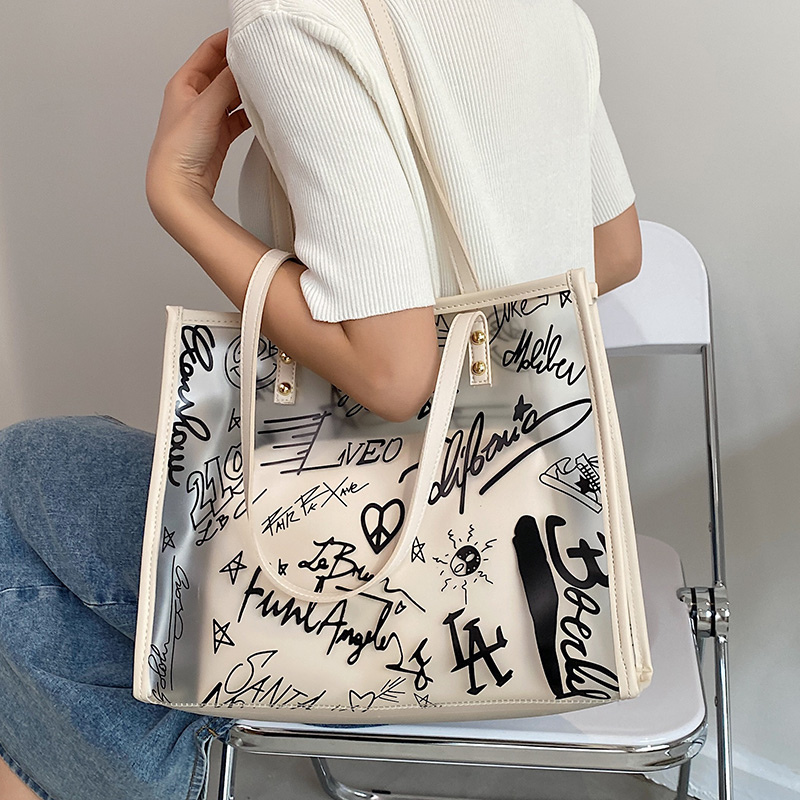 透明果冻包包女2021新款夏天大容量手提大学生上课通勤单肩托特包