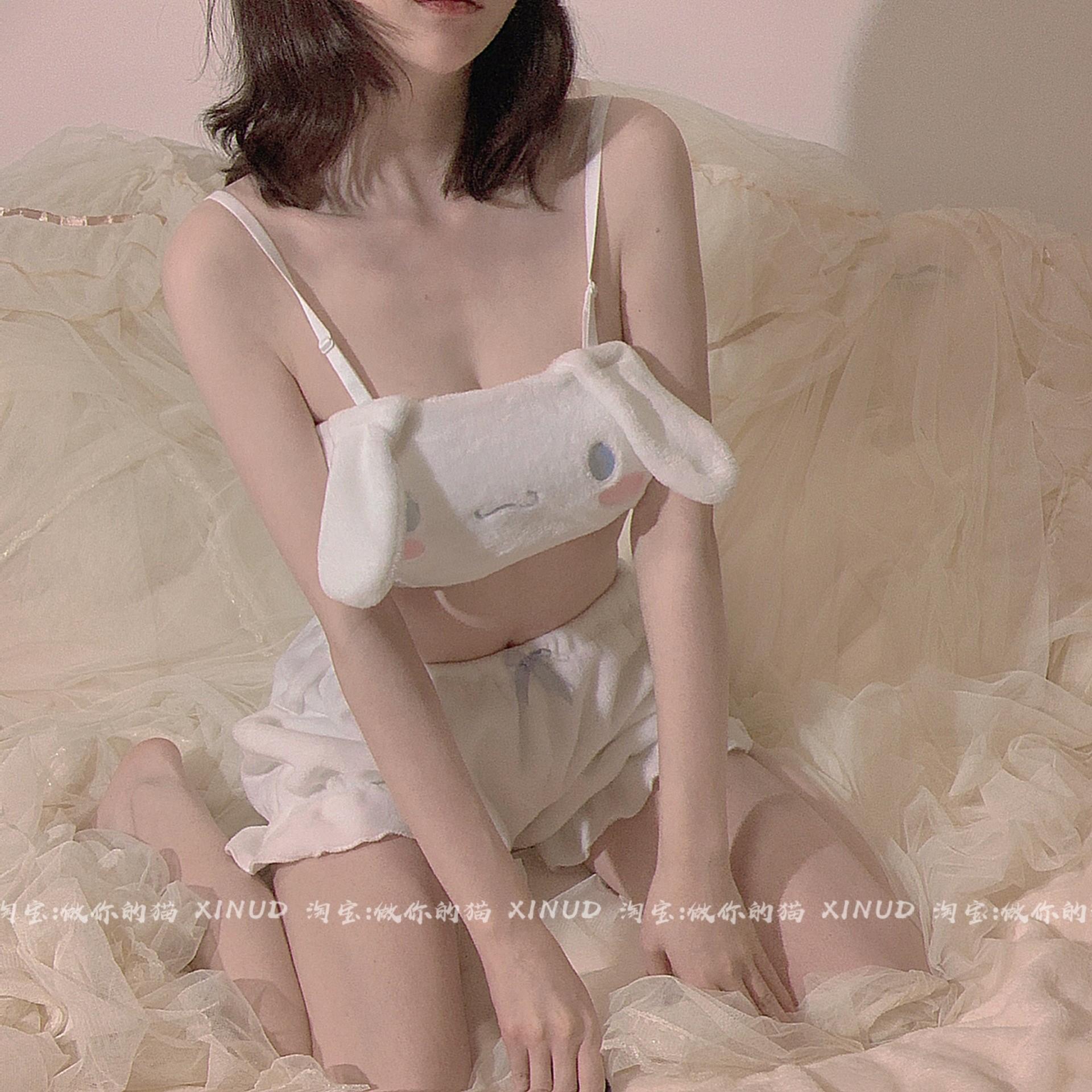 做你的猫是你的小奶狗吖 日系可爱抹胸套装少女文胸居家服内衣~