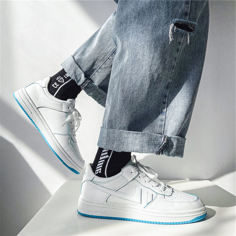 小白鞋男夏季新款空军一号低帮2021系带学生运动透气休闲AJ平底鞋