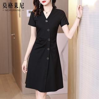 赫本风黑色v领连衣裙女夏天2021新款春季裙子修身显瘦气质小黑裙