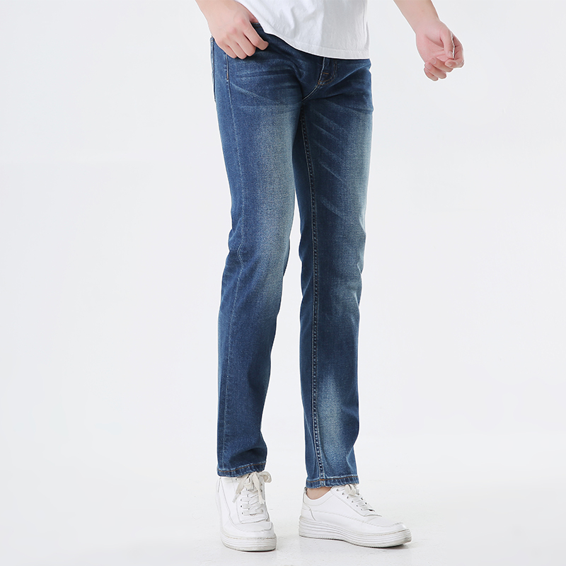 Hanzhizhe mens straight jeans with elastic and low waist