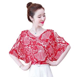 气质女短袖2021年夏装新款雪纺衫