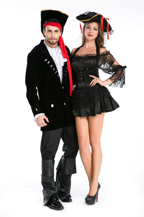 Halloween Costume New Pirates of the Caribbean men and women couple costume role play couple Pirate Costume performance Costume