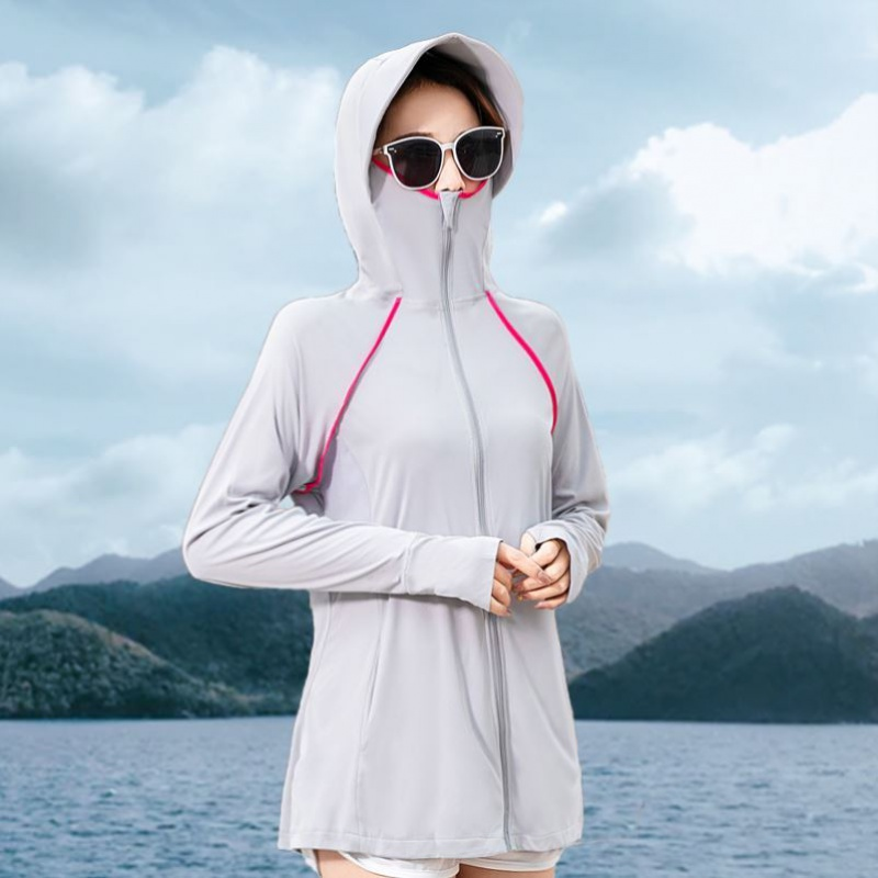 . womens summer long sleeve shirt anti ultraviolet thin breathable ice silk double layer wet coat