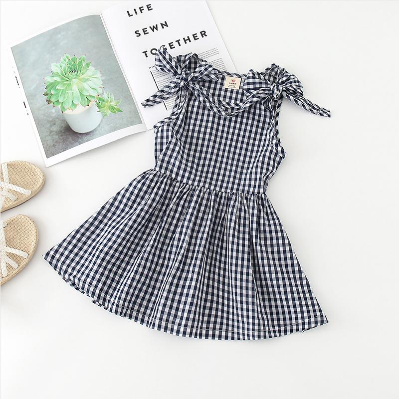 Shell family Plaid vest skirt 2020 summer new Korean childrens dress