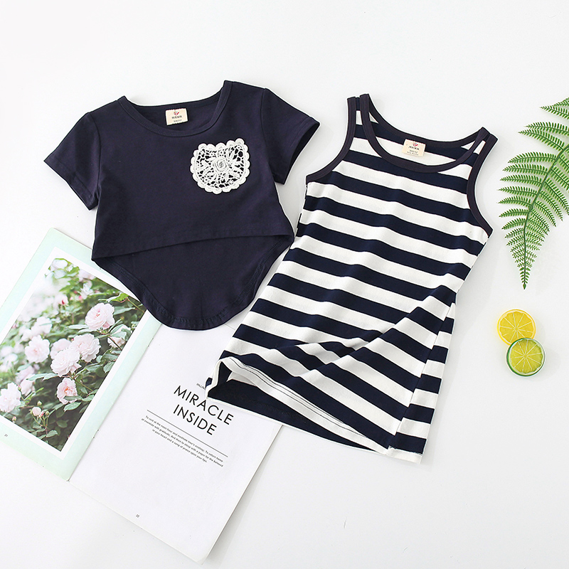 Shell family summer 2020 Korean new wing girls childrens childrens striped dress two piece set