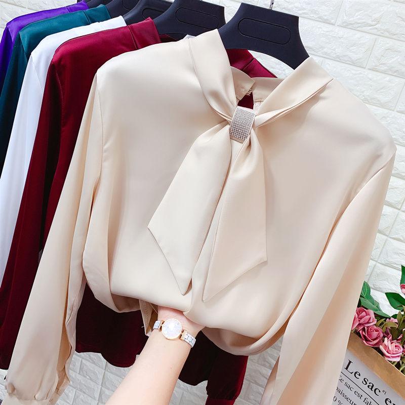 亮钻结系带长袖缎面雪纺衫女春装小领结宽松显瘦打底套头衬衫