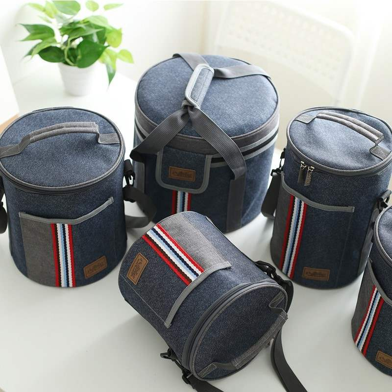 Oxford cloth bag barrel round portable bag rice box bag carrying lunch box heat preservation lunch box bag