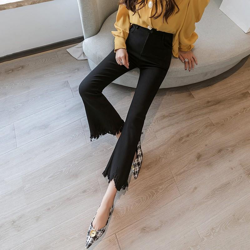 Tassel flared pants for women 2020 new spring and summer high waisted cropped pants show thin and versatile black micro flared pants