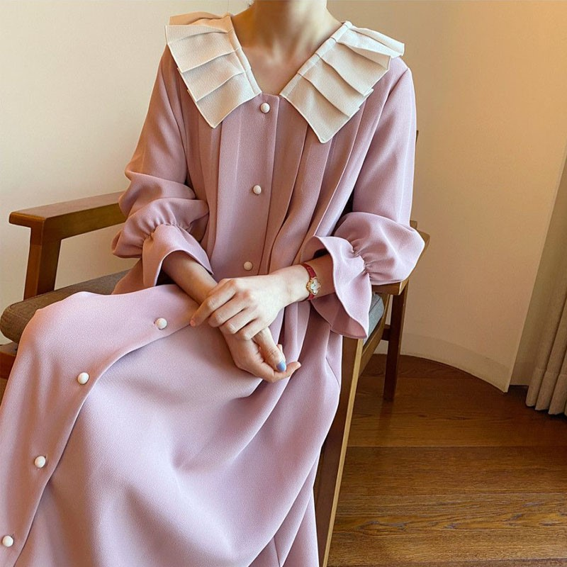 Spring and summer new temperament trumpet sleeve dress female Korean version loose and slim over the knee ladies pleated collar long skirt