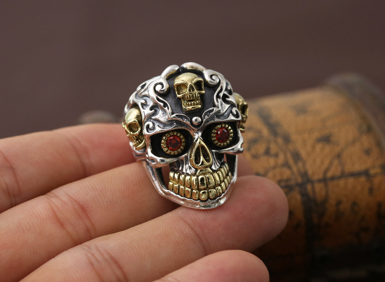 Personalized fashion jewelry retro Thai Skull Ring rock style index finger ring S925 silver punk man