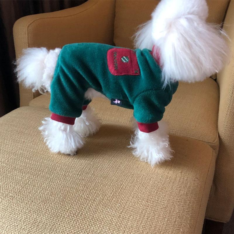 High grade new dog winter pocket four legged clothes plush dog clothes pet clothes Teddy fadou clothes