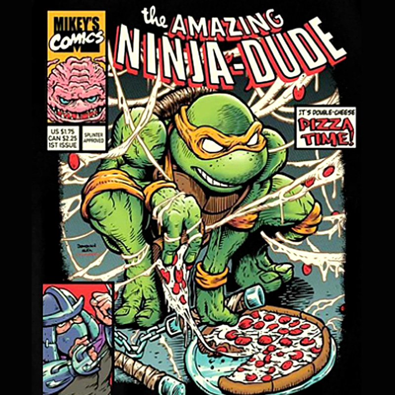 极誉创意忍者神龟吃披萨T恤个性纯棉动漫周边宽松大码复古短袖