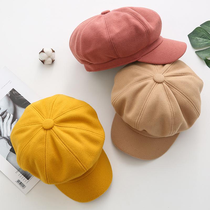 Autumn and winter new versatile womens octagonal hat Korean version solid color retro soft Wool Womens octagonal hat