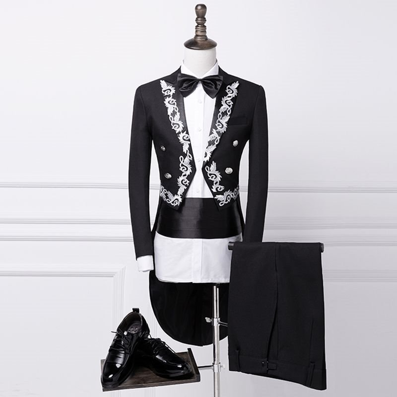 High end new tuxedo male stage singer performance chorus conductor host emcee dress table