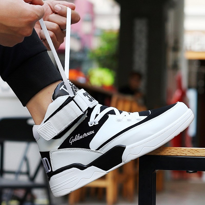 ? Autumn Korean version of skateboard high top sports leisure students middle top hip hop board shoes increase mens shoes basketball ventilation