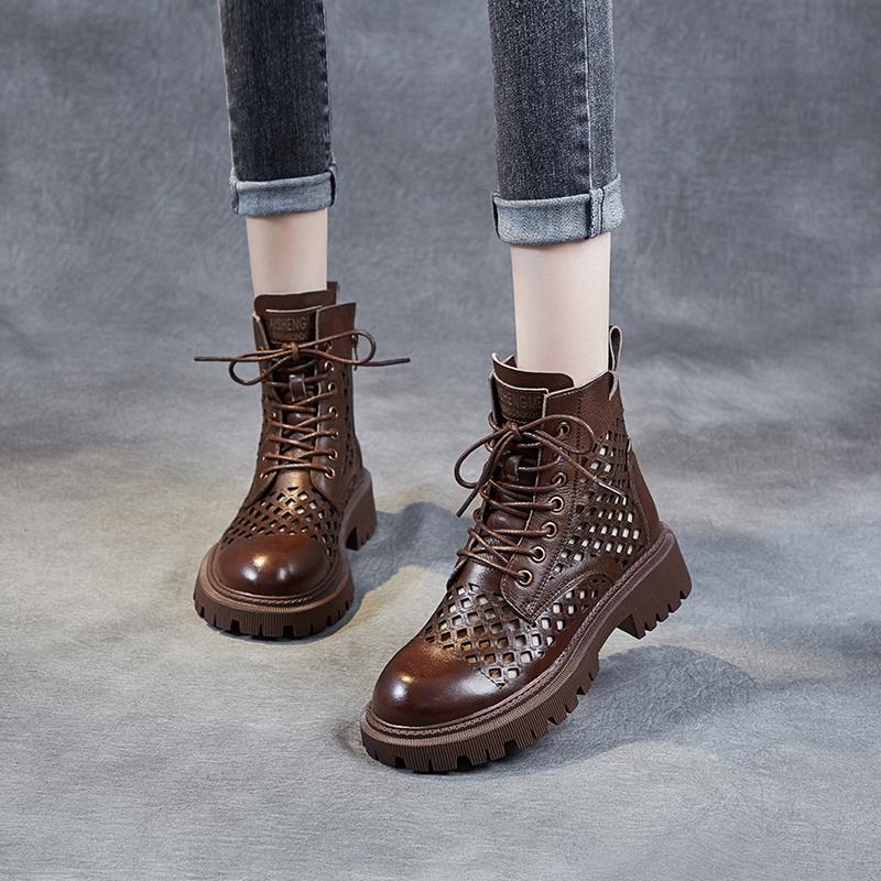 2021年新款马丁靴女夏季薄款靴子网靴镂空靴真皮凉鞋厚底短靴女鞋