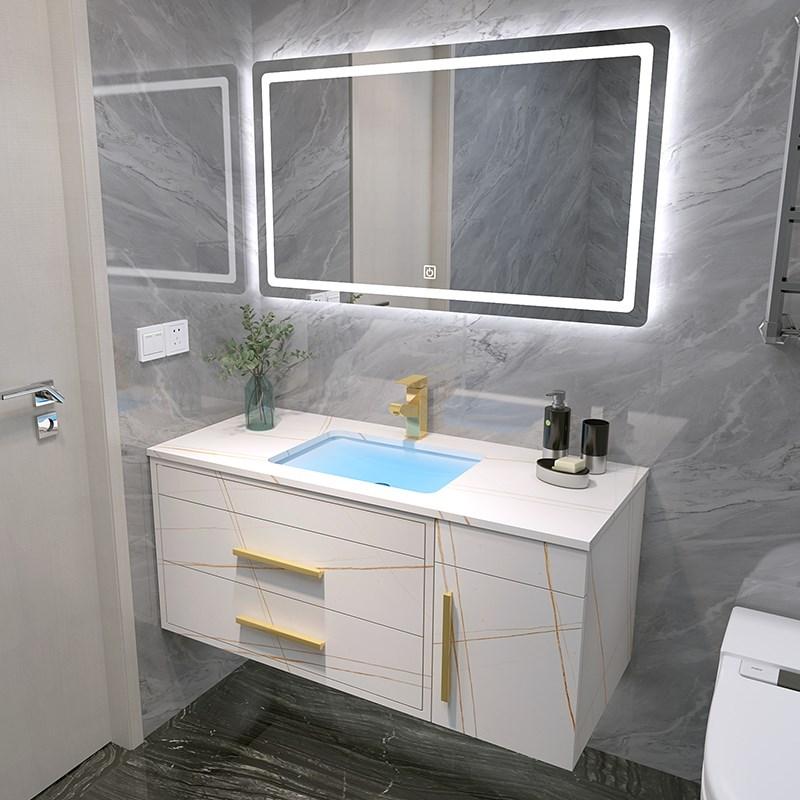 岩版浴室柜组合厕所卫浴洗漱卫生间洗手池洗脸台盆大理石智能镜柜