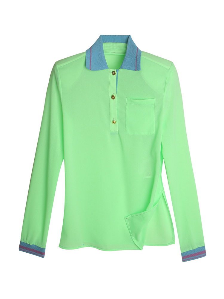 Vitality age reducing square thick shoulder pad stereo shoulder line contrast color half cardigan polo shirt