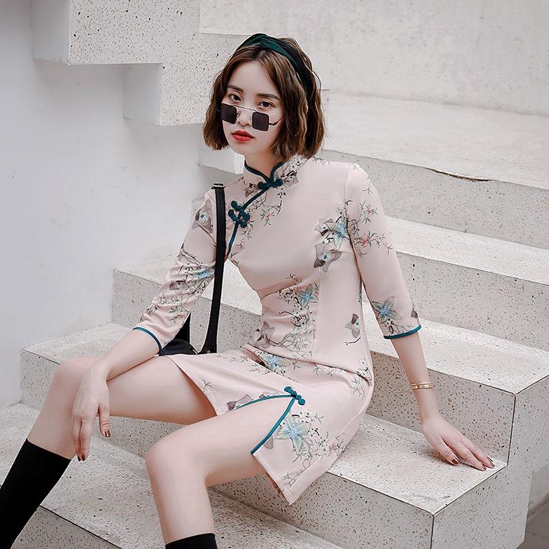 秋季中袖旗袍年轻款少女改良连衣裙