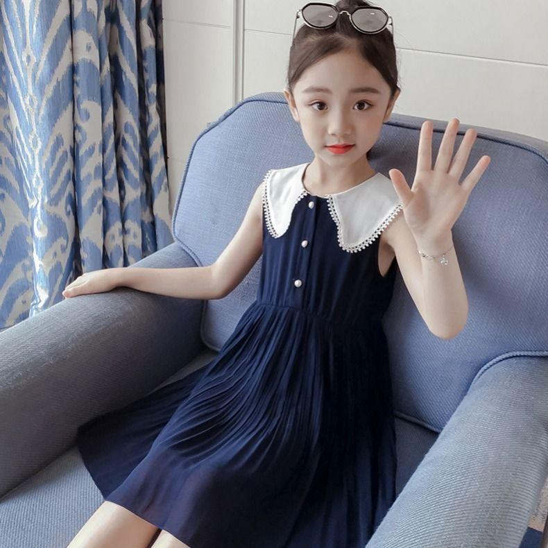 中國代購|中國批發-ibuy99|雪纺裙|女童连衣裙2021新款夏装儿童洋气公主裙小女孩无袖雪纺中大童裙子