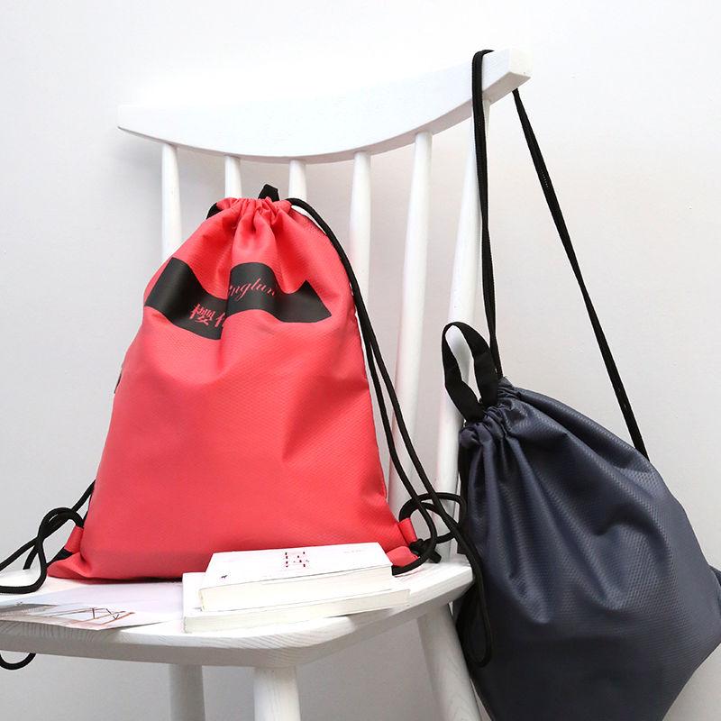 北欧布艺防水束口袋户外运动背包便捷抽绳衣服收纳袋折叠储物包袋