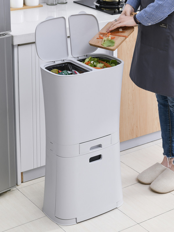 Garbage sorting garbage can with lid odor proof household large kitchen creative household double layer wet and dry separation kitchen waste can