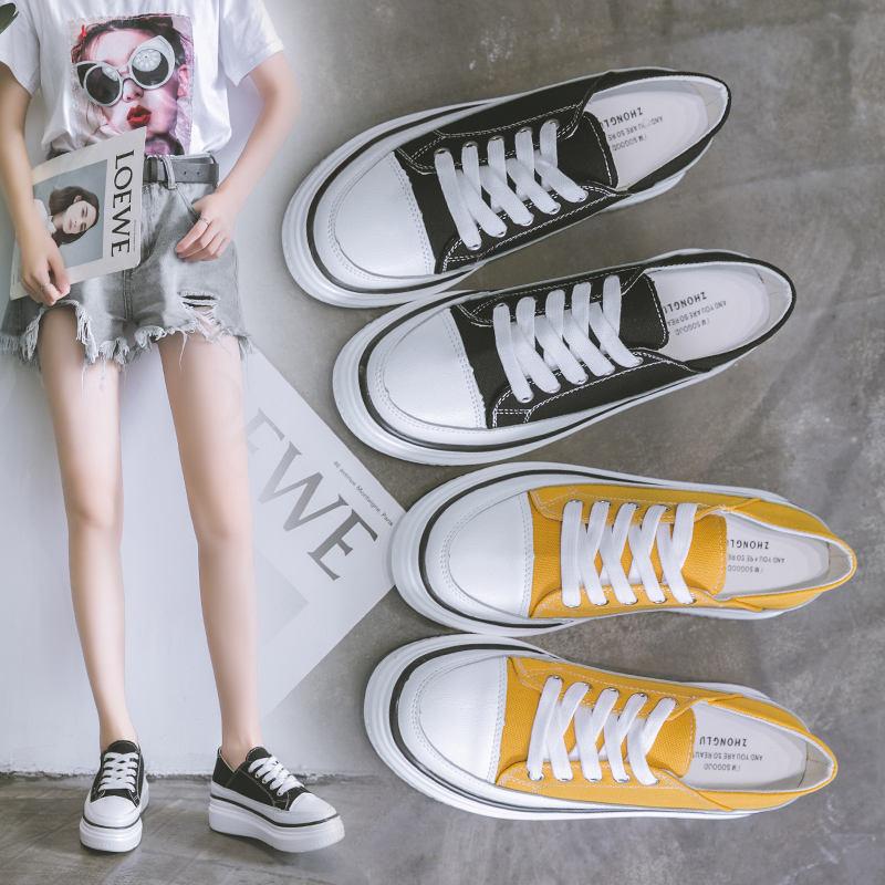 内厚底帆布鞋鞋女春季透气轻便运动休闲板鞋系带圆头
