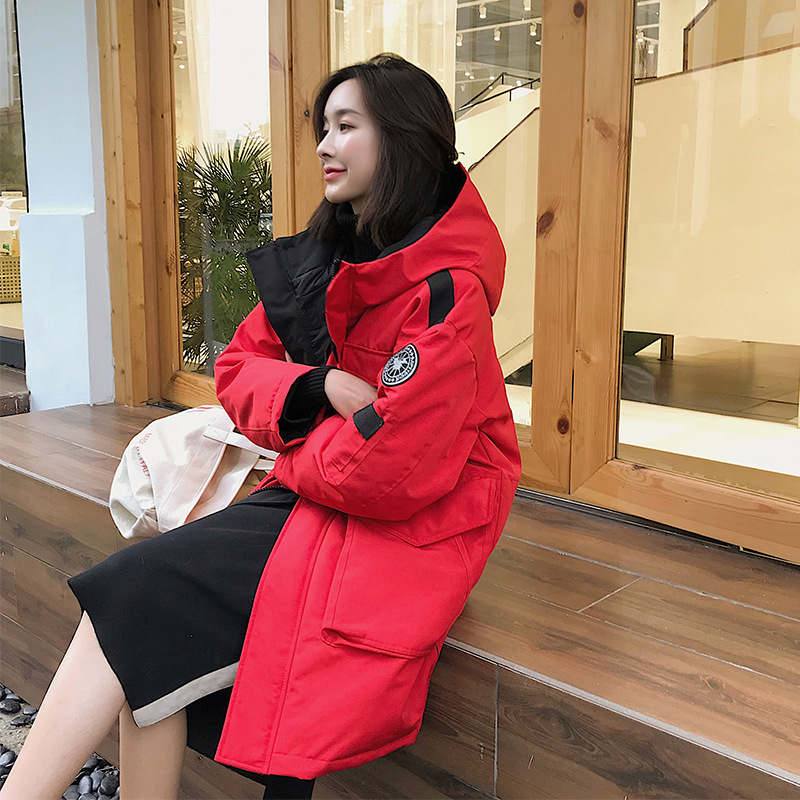 2020 winter new outdoor tooling medium length down jacket for lovers leisure sports thickened loose over the knee coat