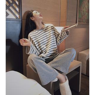 纯棉睡衣套装女春秋新款长袖两件套装 条纹韩系甜美可外穿家居服