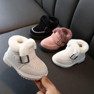 女童雪地靴2019冬款加绒保暖儿童马丁靴子中小童毛毛短靴宝宝棉鞋