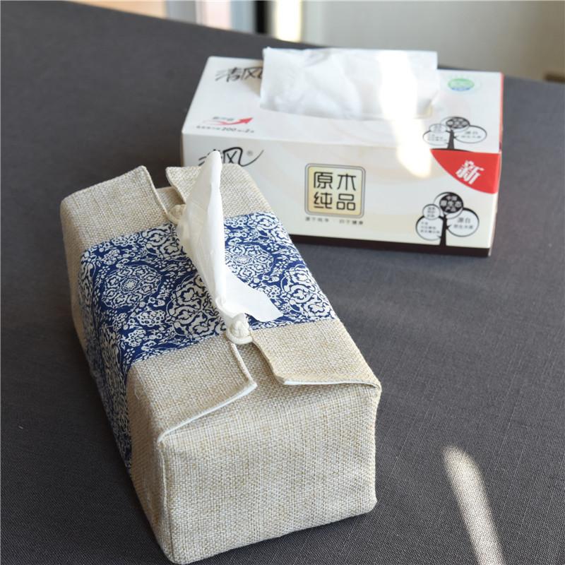 大号纸巾盒 布艺抽纸盒茶道中式纸巾袋茶馆大号硬盒装餐巾纸套 Изображение 1