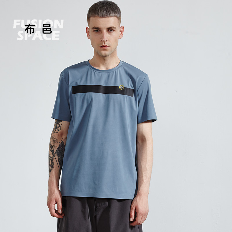 [diurnal function] Buyi t-shirt mens moisture absorption quick drying half sleeve trend loose and simple sports breathable round neck T