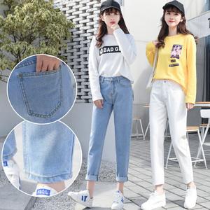 白色直筒夏季新款高腰显瘦牛仔裤