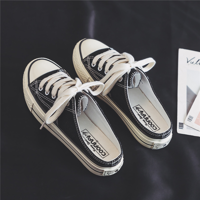 White cloth shoes, westernized street round head canvas shoes, womens simple womens students, orange shoes, drag fashion brand, flat in 2020